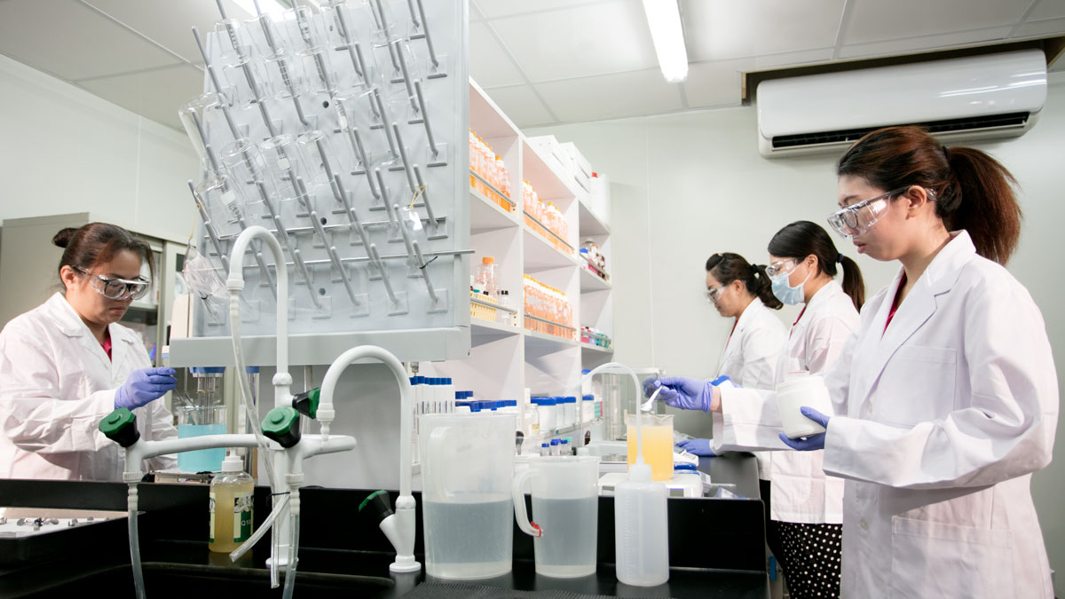 The R&D Department team working in the labs at the cosmetics factory